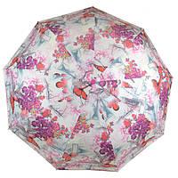 Зонт женский полуавтомат Цветы и бабочки