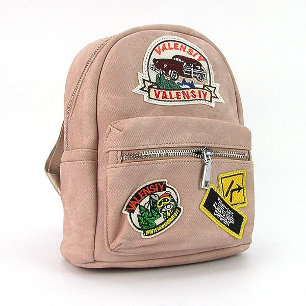 Рюкзак - сумка малая кожзам молодежная пудра Valensiy 652-11