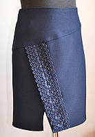 Школьная юбка для девочки синего цвета с кружевом, фото 1