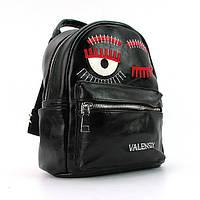 Рюкзак женский черный Valensiy 656 маленький городской с глазами, фото 1