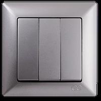 Выключатель тройной Gunsan Visage Metallic серебро