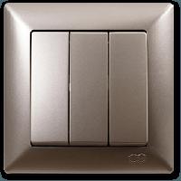 Выключатель тройной Gunsan Visage Metallic золото