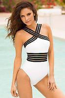 Сплошной монокини купальник женский белый  размер в наличии S, L