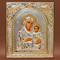 Икона Божией Матери Иерусалимская 155 мм х 180 мм серебряная с позолотой.
