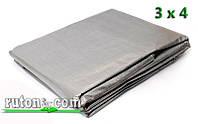Тент полипропиленовый с кольцами (люверсами) 3 х 4 м - серый (серебро)