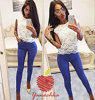 Женские облегающие брюки в горошек. Ткань: стрейч-коттон. Размер: 42-44,46-48,50-52,54-56,58-60.синий.
