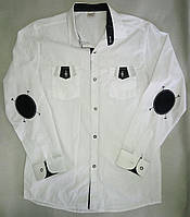 Детская школьная белая рубашка с длинным рукавом на мальчиков 11-16 лет Турция