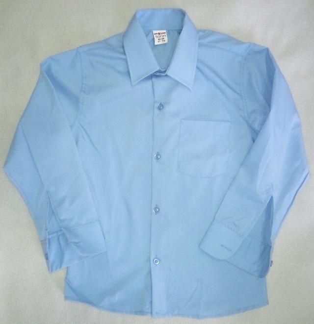 Детская школьная голубая рубашка с длинным рукавом на мальчиков 5-10 лет Турция
