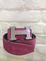 Замшевой женский пояс розовый Hermes
