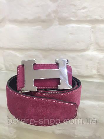 Замшевой женский пояс розовый Hermes, фото 2