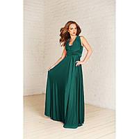 """Вечернее платье трансформер """"Манго"""" зеленый бутылочный цвет"""
