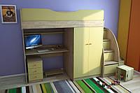 Мебельный комплект с прямым шкафом (+ лестница комод), Детская мебель
