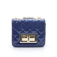 Клатч лаковый синий Chanel small