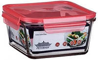 Квадратный пластиковый контейнер для еды peterhof ph-10085-rd красный 950 мл с крышкой