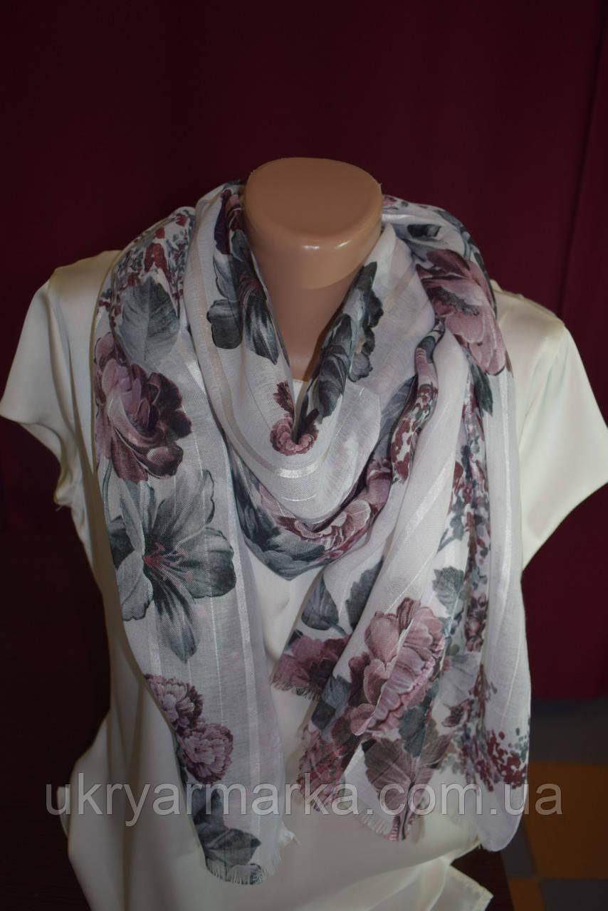 """Жіночий літній шарф """"Лілії та піони"""""""