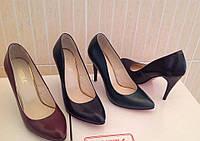 Кожаные женские туфли-лодочки (разные цвета)