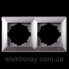 Рамка 2-местная Gunsan Visage Metallic серебро