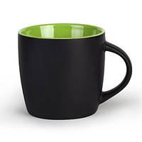 Чашка HANDY черно-зеленая под нанесение логотипа, чашка с логотипом