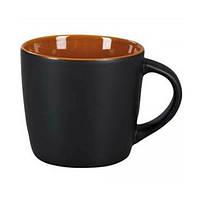 Чашка HANDY черно-коричневая под нанесение логотипа, чашка с логотипом