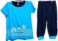 Пижама люкс Турция футболка и капри с манжетами XXL( наш размер 52-54)