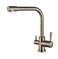 Змішувач для кухні з підключенням фільтрованої води Kaiser Mercur 26044-3 Bronze, фото 1