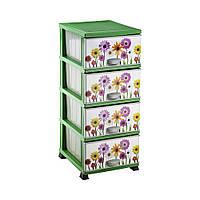 Комод пластиковый с рисунком полевые цветы, 37,5x45,5x90см Elif plastik  298-5LF