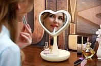 Зеркало для макияжа с подсветкой и тайником. Сердце Белое