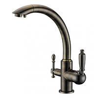 Смеситель с подключением фильтрованной воды  2 в 1 Kaiser Vincent 31244-1 Старая бронза