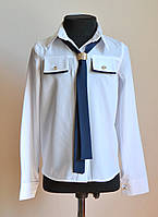 Детская школьная блузка для девочки, с галстуком-бантом, фото 1