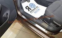 Накладки на пороги NataNiko Premium на Lada Kalina (Ваз-1119) хэтчбек 2006-2013