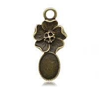 """Подвеска """"Цветы"""", Цвет: античная бронза, Основа для кабошона (Для 13.7x9.8mm ), 3.8cm x 1.8cm"""