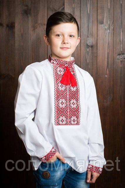 Вишиванка для хлопчика КРАСУНЧИК червоний. Вышиванка для мальчика.