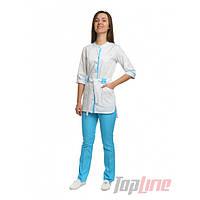 Медицинский костюм Дели белый/голубой, фото 1