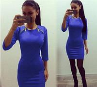 Однотонное короткое платье синего цвета  БП
