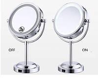 Двойное зеркало для макияжа с LED подсветкой. Трехкратное увеличение, средний размер