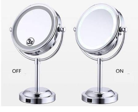Двойное зеркало для макияжа с LED подсветкой. Трехкратное увеличение, средний размер, фото 2