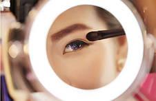 Двойное зеркало для макияжа с LED подсветкой. Трехкратное увеличение, средний размер, фото 3