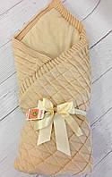 """Вязаный демисезонный конверт-одеяло на выписку """"Лапушка"""" (капучино), фото 1"""