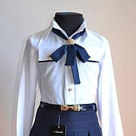 Детская школьная блуза для девочки белого цвета