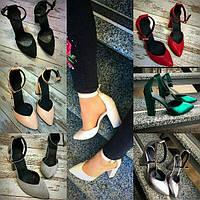 Женские кожаные туфли с ремешком на толстом каблуке