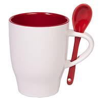 Чашка керамическая MODENA с ложечкой Бело-красная, чашка с логотипом