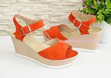 Босоніжки жіночі на платформі, помаранчевий замш, фото 3