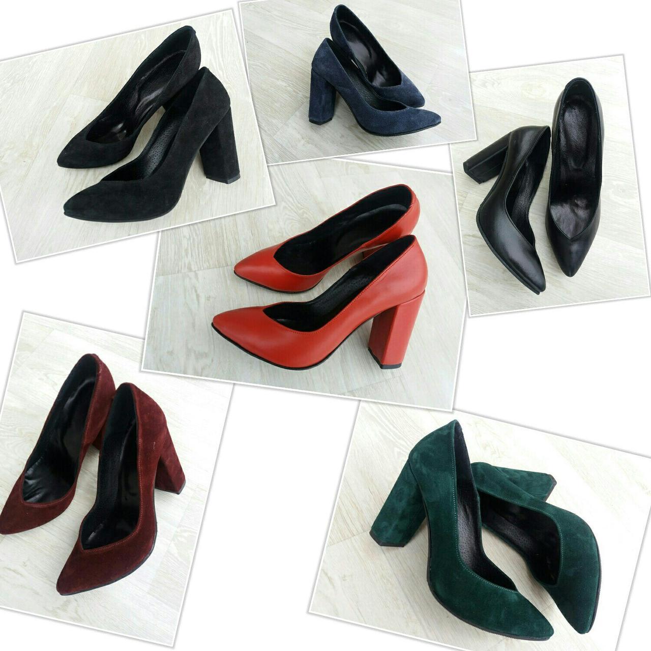 Женские туфли на толстом каблуке с вырезом впереди натуральная кожа и замша  - ГЛЯНЕЦ  719b7c611c7e2