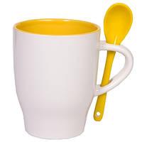 Чашка керамическая MODENA с ложечкой Бело-желтая, чашка с логотипом
