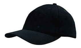 Кепка шестипанельная  Brushed Cotton Cap, чёрная, от 10 шт.