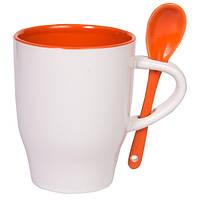 Чашка керамическая MODENA с ложечкой Бело-оранжевая, чашка с логотипом