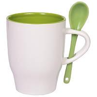 Чашка керамическая MODENA с ложечкой Бело-зеленая, чашка с логотипом