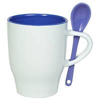 Чашка керамическая MODENA с ложечкой Бело-синяя, чашка с логотипом