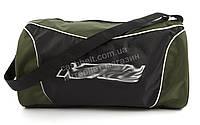 Стильная спортивная прочная вместительная сумка бочонок art. зеленая/черная (100116)