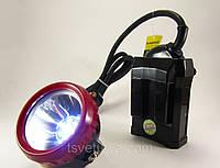 Шахтерский фонарь (фонарик) 0019 налобный коногонка мощный светодиодный, аккумуляторный, каногонка